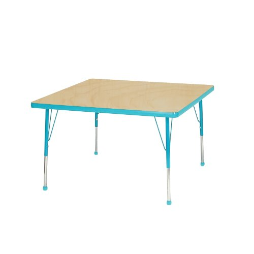 "Mahar Kids 30"" Square Table Top Color: Maple, Edge Color: Teal, Leg Height: Toddler 16""-24"", Glide Style: Self-Leveling Nickel front-1006420"