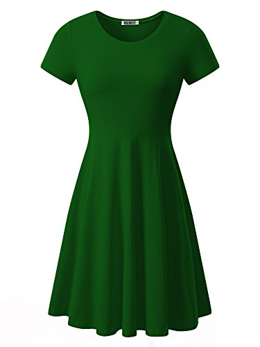 Women Short Sleeve Round Neck Summer Casual Flared Midi Dress (Large, Green)