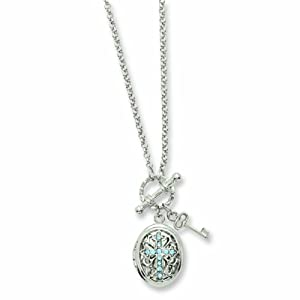 Silver-tone Blue Crystal Cross Locket 24 Necklace