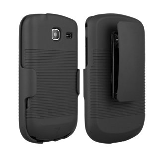 Rubberized Shell Holster Combo with Belt Clip for Samsung Freeform 4 R390, Black
