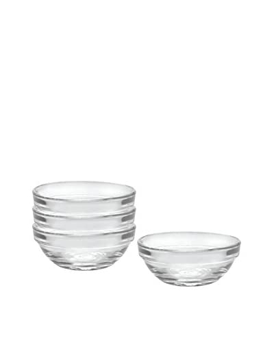 Duralex Set of 4 Lys Stackable Bowls, Clear, 2.4-Oz.