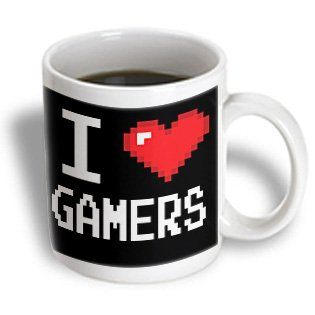 Dooni Designs Geek Designs - Geeky Old School Pixelated Pixels 8-Bit I Heart I Love Gamers - 15Oz Mug (Mug_118893_2)