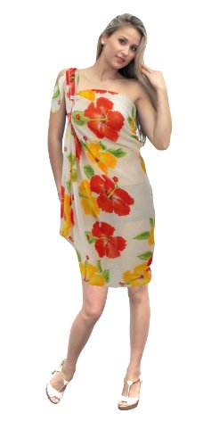 La Leela Hibiscus Floral Printed Swim Sarong White Red Orange