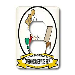 Dooni Designs Worlds Greatest Cartoons - Funny Worlds Greatest Customer Service Rep Occupation Job Cartoon - Light Switch Covers - 2 plug outlet cover