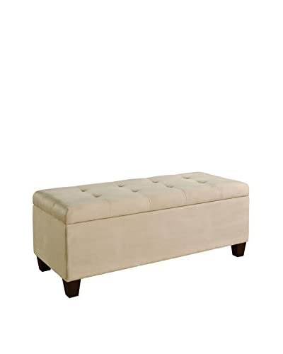Linon Home Décor Carmen Shoe Storage Ottoman, Beige