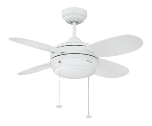 Litex E MLV36MWW4LK1 Maksim Collection 36 Inch Ceiling Fan With Four Matte  White Blades And Single Light Kit With Opal Frosted Glass By Ellington