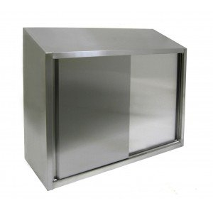 Stainless Steel Wall Cabinet with Glazed Sliding Doors