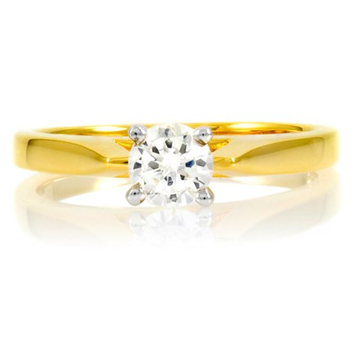 Zejna's Gold Engagement Ring - Round Cut CZ