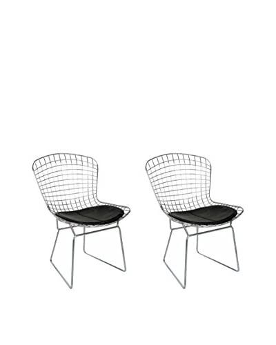 Manhattan Living Set of 2 Grammercy Park Leather Chairs, Black