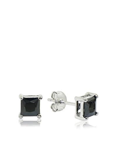 Diamonere 2.5 Cttw Sterling Silver and Black Diamond Simulant Stud Earrings