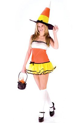 Candy Corn Treat Adult Halloween Costume Size 2-8 Teen