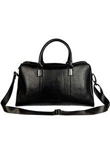 VIPARO Black Leather Holdall Shoulder Everyday
