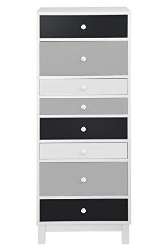 Moderne-Kommode-Hoch-Schmal-40-x-34-x-120-cm-mit-8-Schubladen-Wei-Grau
