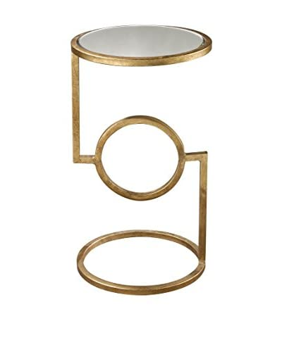 Artistic Mirrored Top Hurricane Side Table , Antique Gold Leaf, Mirror