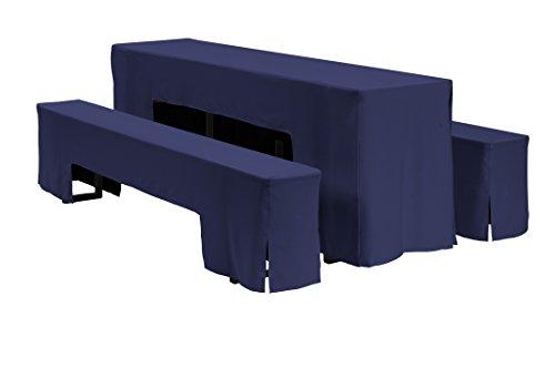 635018 Hussen-Set Arcade für Festzeltgarnitur, 100% Polyester, 220 x 50 cm, navy