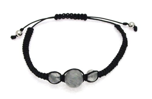 Black Cotton and Grey Agate 8mm and 12mm Bead Bangle Type Adjustable Bracelet