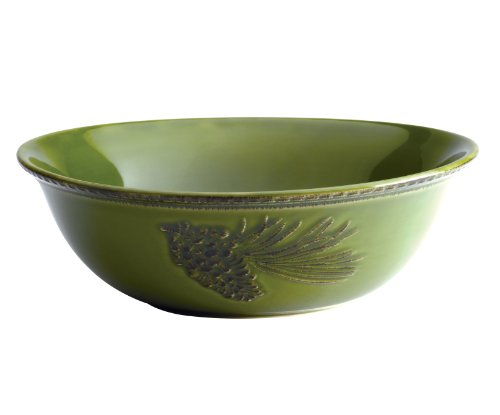 Paula Deen Signature Dinnerware Southern Pine 10-Inch Round Serving Bowl, Green Green Glass Serving Bowl
