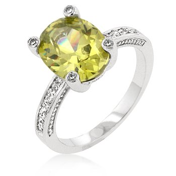 White Gold Rhodium Bonded Anniversary Ring with an Oval Peridot CZ Center Stone Accented by Clear CZ in Silvertone