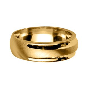 FranceBijoux Men's Wedding Ring, 7 mm-Gilt (Gold on Silver)-Size: 66-New