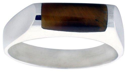 Sterling Silver Thin Tiger Eye Ring