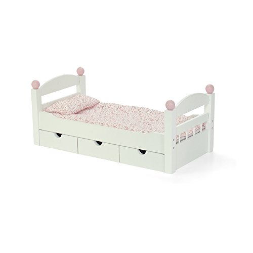 18-inch Doll Furniture | White Trundle Bed with Bedding | Fits American Girl Dolls