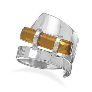 Sterling Silver Sideways Amber Cylinder Polished Ring / Size 6