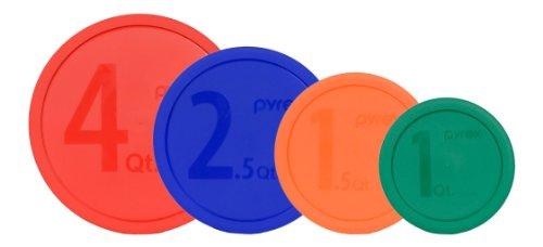 Pyrex Storage Container Lids 4 Pack: 4qt Red, 2.5qt Blue, 1.5qt Orange & 1qt Green for #1086053 (Pyrex 1 Quart Lid compare prices)