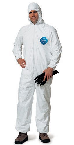 DuPont TY127S Disposable Elastic Wrist, Ankle & Hood White Tyvek Coverall Suit 1428, Size Large, Sold by the Each