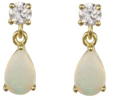 9ct Gold Opal & CZ Drop Earring
