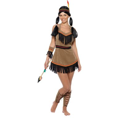 Womens Brown Indian Woman Halloween Costume