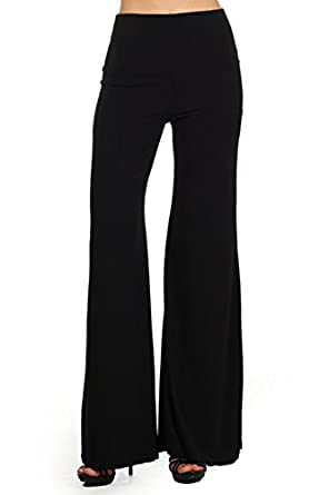 409 Tribal print, knit palazzo pants with a high fold-over waist and a wide leg L