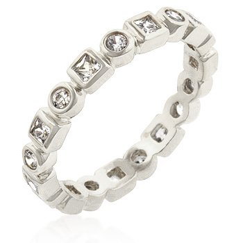 White Gold Rhodium Bonded Eternity Ring with Bezel Set Round and Princess Cut Clear CZ in Silvertone