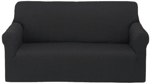 ソファーカバー 肘付 2人掛け ブラック (対応ソファーサイズ:幅(約)100~130?) ブロック 46615B10