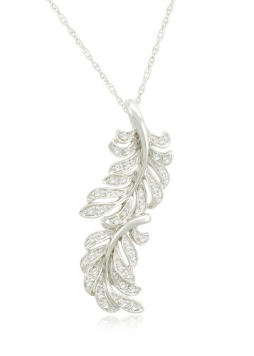 Sterling Silver Feather Diamond Pendant Necklace (.16 cttw, I-J Color, I2-I3 Clarity), 18