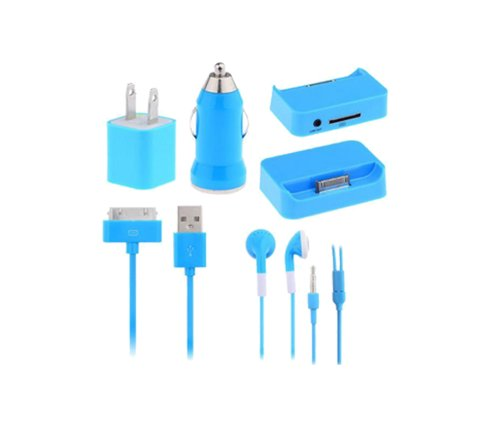 [Big Texas Mall] 5 In 1 Traveling Charging Home Kit For Apple Iphone 4 4S, Ipad 1St 2Nd 3Rd Gen Generation, Ipod Touch 1 2 3 4 Comes With Wall Charger, Car Charger, Headphones, Usb Charging & Sync Cable, Iphone 4/4S Charging Doc / Cradle - Blue / Light Ba