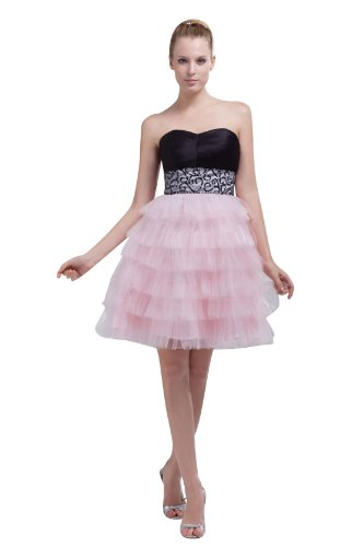Heyivogue Sweetheart Empire Short Pick Up Skirt Ruffles Graduation Dress 4461 18W Black And Pink