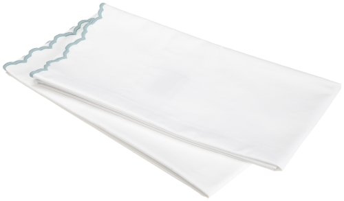Peacock Alley Luxury Bed Linens Calypso 100-Percent Egyptian Cotton 400 Thread Count Percale King Pillow Cases, Sea Glass
