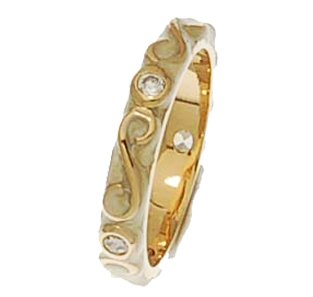 Brass Vermeil Overlay Cream Enamel Ring With Swirl Design and CZ Stones!