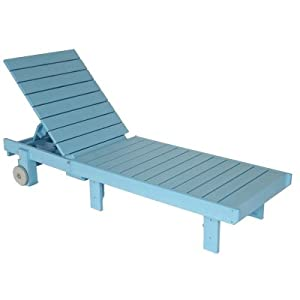 Sky blue polywood adirondack chaise lounge for Adirondack chaise