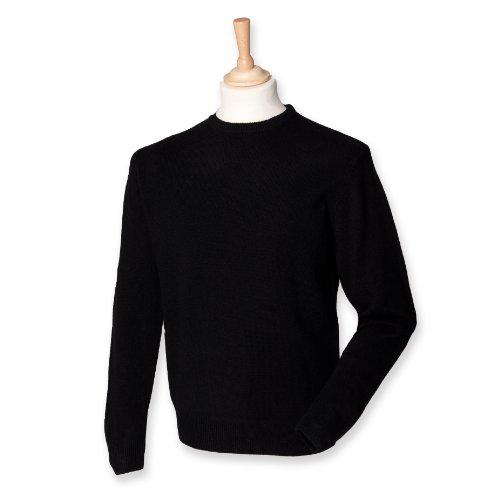 Men's Woolmark Crew Neck Lambswool Jumper Sweatshirt Colors=Black Size=Large