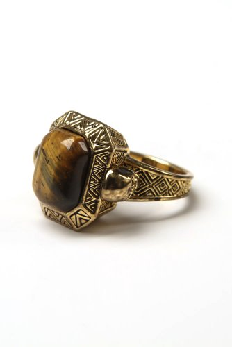 House of Harlow - Engraved Double Skull Ring with Tigers Eye Stone (Gold)