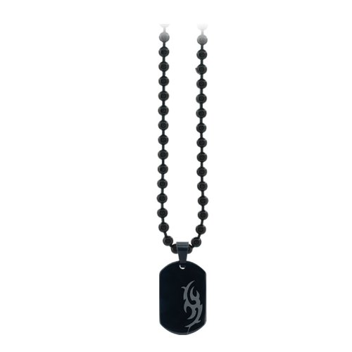 Inox Stainless Steel Black Plated Tribal Design Dog Tag (Pendant Only)