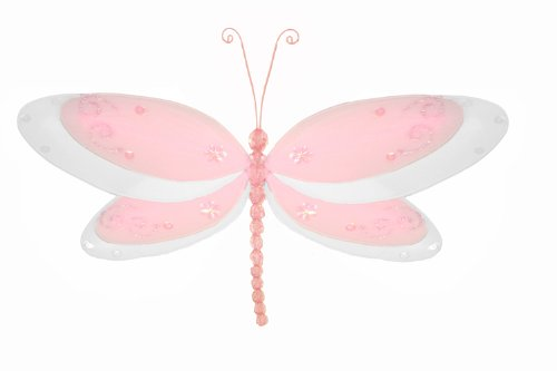 "Hanging Dragonfly 5"" Small Pink Multi-Layered Nylon Dragonflies Decorations. Decorate For A Baby Nursery Bedroom, Girls Room Ceiling Wall Decor, Wedding Birthday Party, Bridal Baby Shower, Bathroom. Kids Childrens Dragonfly Decoration 3D Art Craft"