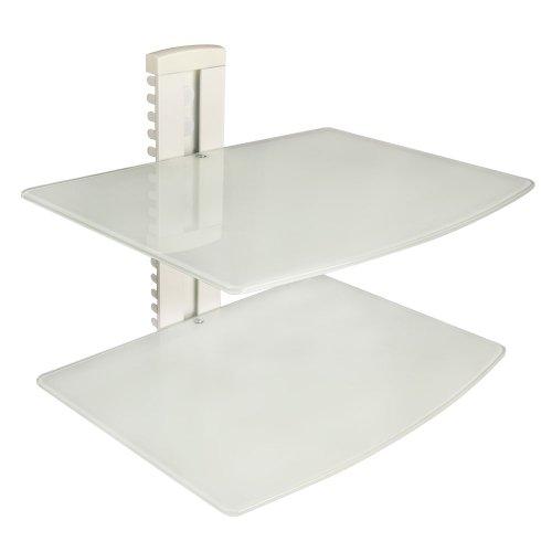Design-2-fach-DVDBluray-Player-Glas-Halterung-Halter-fr-Wandmontage-Wandhalter-Wandhalterung-AV-Rack-in-weiss