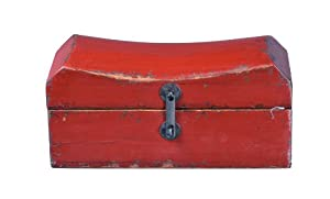 Antique Revival Chinese Wooden Pillow-Case Box, Red