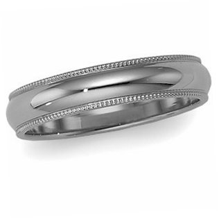 14K White Gold, Milgrain Wedding Band 5MM (sz 10.5)