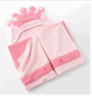 Hooded Baby/Toddler Bath Towel & Mitten - Princess