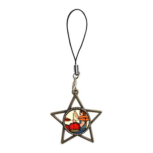 Chicforest Ancient Bronze Retro Style Music Theme Playing Drummer Photo Five Pointed Star Strap Hanging Chain For Phone Cell Phone Charm Dust Plug-Earphone Jack Accessories, Cell Charms, Dust Plug, Ear Jack Universal 3.5Mm Anti Dust Earphone Jack Plug Cap