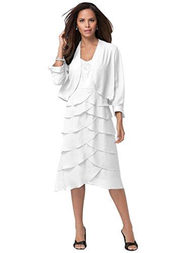 Roamans Women's Plus Size Beaded Tier Jacket Dress. White,18