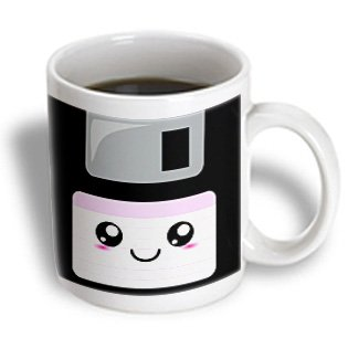 3dRose mug_57453_1 Kawaii Cute Happy Floppy Disk Retro Computer Nerd Japanese Anime Smiley Cartoon with Pink Label Ceramic Mug, 11-Ounce